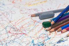 Colored pencils and Crayon Stock Photos