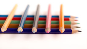 Colored Pencils Crayons. On white backgroundn Stock Images