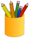 Colored pencils in a cup Royalty Free Stock Photography