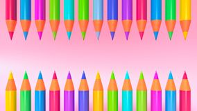 Colored pencils 3d rendering. Colored pencils line up in a row 3d rendering royalty free illustration