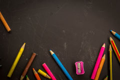 Colored Pencils,  on dark background, may use as banner or slide Stock Photo