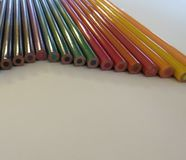 Colored pencils. Detail of the ends of colored pencils Royalty Free Stock Image