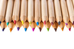 Colored pencils. Different natural colored pencils on white background. Shallow depth of field Stock Photo