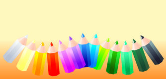 Colored pencils in different shades. Vector illustration that depicts a set of colored pencils in different shades of color on an orange background Stock Photo