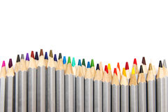 Colored pencils. Colored drawing pencils isolated on white background royalty free stock image