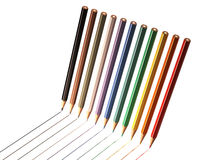 Colored pencils drawing line Royalty Free Stock Photo