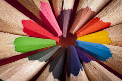 Colored pencils. Enlarged view of colored pencils tips Royalty Free Stock Images