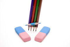 Colored pencils with eraser. Blue and red Royalty Free Stock Photos