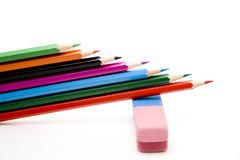Colored pencils with eraser Stock Images