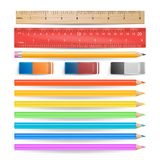 Colored Pencils, Eraser, Measuring Ruler Isolated Set Vector.  Royalty Free Stock Image