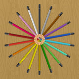 Colored pencils that fan circle Royalty Free Stock Photos