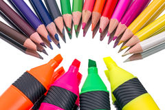Colored pencils and felt-tip pen Royalty Free Stock Images