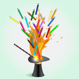 Colored pencils flying from magic hat Stock Photography