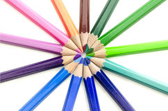 Colored pencils forming a circle Stock Photo