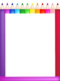 Colored pencils frame. Frame of bright colored pencils with a blank center Stock Photography