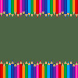 Colored Pencils Frame Template Royalty Free Stock Photo