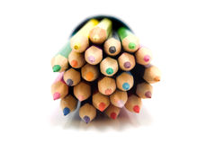 Colored pencils front view in closeup Stock Images