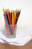 Colored Pencils in Glass. Assorted Colored Pencils in Glass Stock Photos