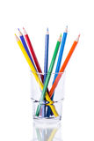 Colored pencils in a glass Stock Photos