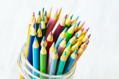 Colored Pencils in a Glass Jar Close Up Stock Images