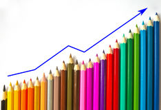 Colored pencils and graph Stock Photo