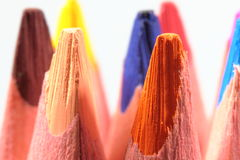 Colored pencils in the green box Royalty Free Stock Photo