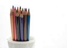 Colored Pencils. Grouped in a cup Royalty Free Stock Images