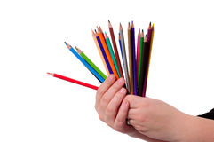 Colored Pencils in hand Royalty Free Stock Photography