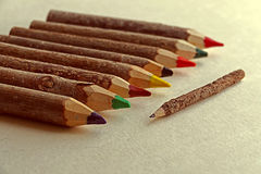 Colored pencils handmade from branches of trees 5 Stock Images