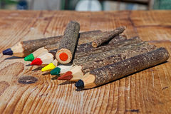Colored pencils handmade from branches of trees 8 Royalty Free Stock Photo