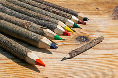 Colored pencils handmade from branches of trees 7 Royalty Free Stock Images