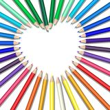 Colored pencils heart. Colored pencils in a heart shape royalty free illustration