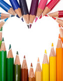 Colored Pencils Heart Stock Photos
