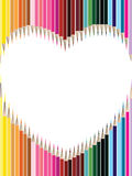 Colored pencils in heart shape Royalty Free Stock Photography