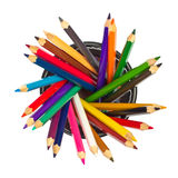 Colored pencils in holder Royalty Free Stock Photography