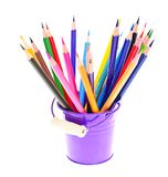 Colored Pencils in Holder Isolated on White Stock Photography