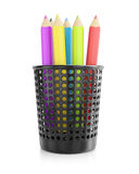 Colored pencils in holder Royalty Free Stock Image