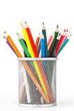 Colored pencils in a holder Stock Photos