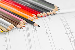 Colored pencils on home details. Stock Photos