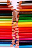 Colored pencils. Imaginary zipper made with colored pencils Royalty Free Stock Images