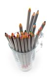 Colored Pencils In A Glass Cup Royalty Free Stock Images