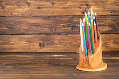 Free Colored Pencils In A Wooden Stand Royalty Free Stock Image - 72221796