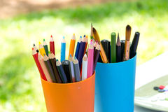 Colored Pencils In Glass Royalty Free Stock Photo