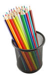 Colored Pencils In Pot Isolated Stock Photography