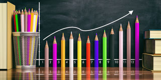 Colored pencils increasing chart on black background. 3d illustration Royalty Free Stock Image