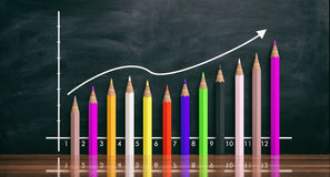 Colored pencils increasing chart on black background. 3d illustration Stock Photo