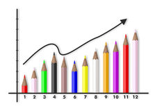 Colored pencils increasing chart on white background. 3d illustration. Increasing chart with colored pencils on white background. 3d illustration Stock Images