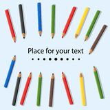 Colored pencils isolated on light background. Place for text. Baby colorful colored pencils. Vector illustration. stock illustration