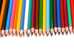 Colored Pencils Isolated On White Stock Images