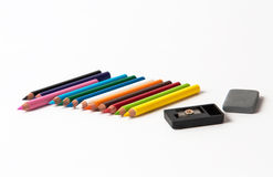 Colored pencils. Isolated over white background Stock Image